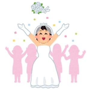 結婚式でブーケをトスする花嫁